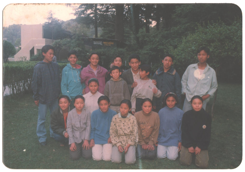 Tashi Thakchoe with his foster siblings from home no. 19, THF Mussoorie, 1994.