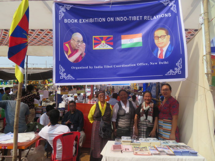 Mumbai Tibetan Sweater Sellers Association members at the book exhibition stall. Photo/ITCO