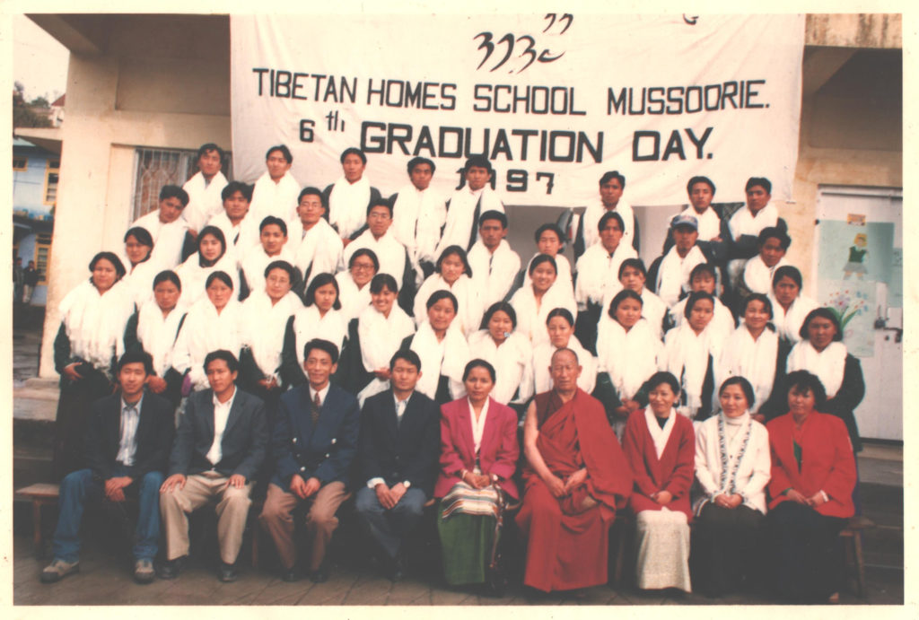 Tashi Thakchoe (standing extreme left in the last row) with Class of 1997 on graduation day, THS Mussoorie, 1997.