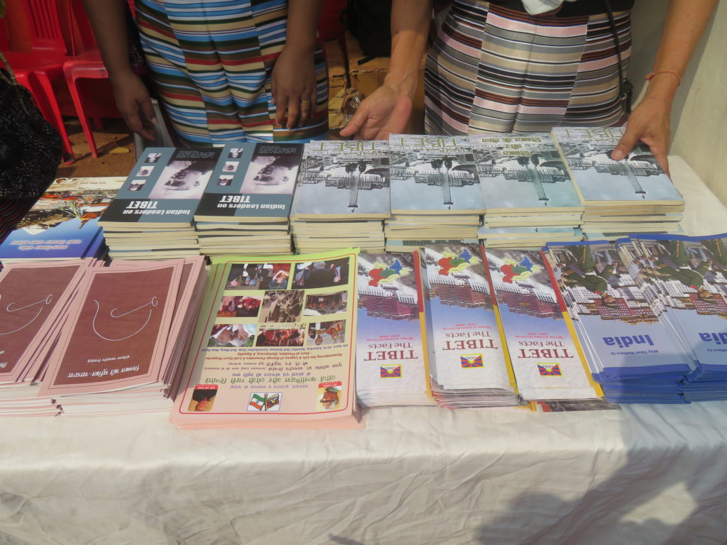 Tibet related books on display at the book exhibition cum free distribution. Photo/ITCO