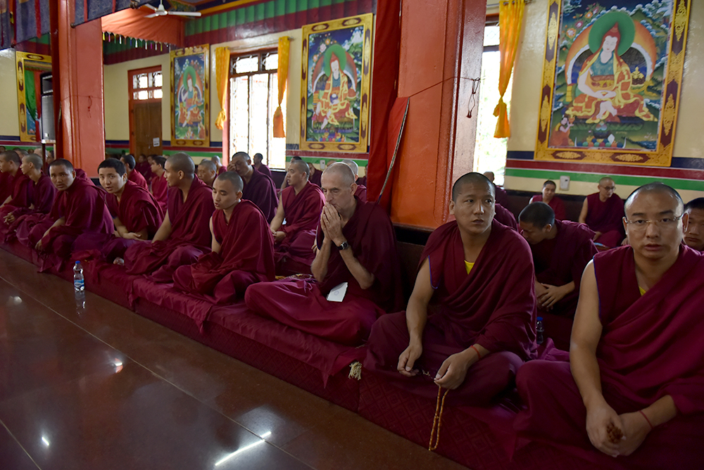 Monks in the audience listening to His Holiness the Dalai Lama. Photo/ Tenzin Jigme/ CTA