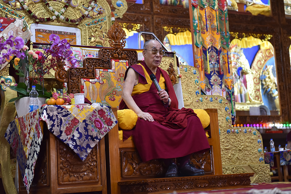 His Holiness the Dalai Lama presides over the ceremony at Gaden Shartse. Photo/ Tenzin Jigme/ CTA