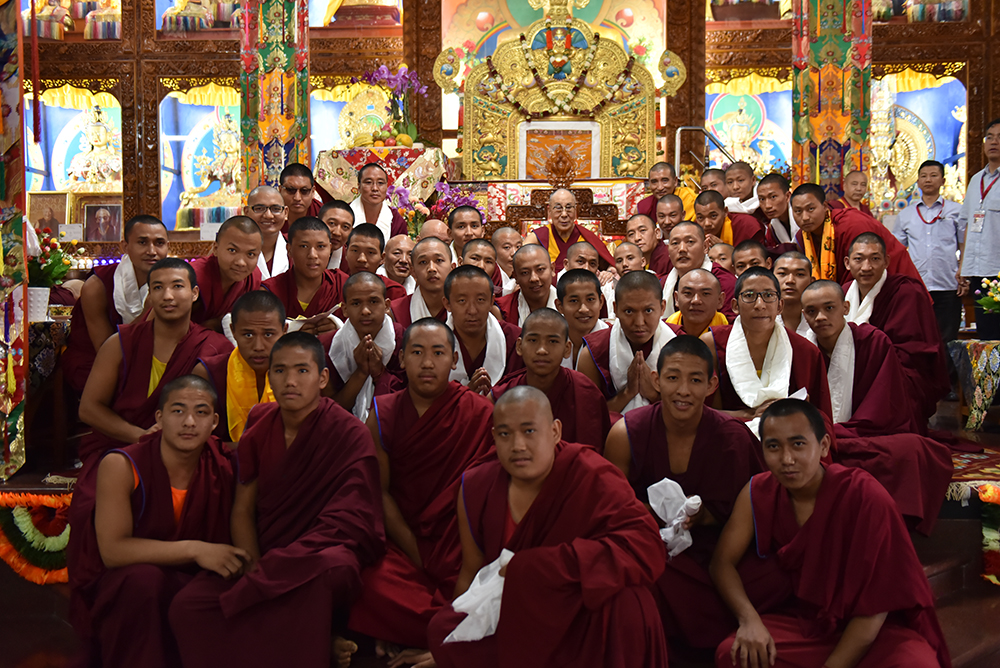 His Holiness the Dalai Lama with the participants of the Buddhist Philosophy debate in Gaden Shartse, Mundgod on December 19, 2019. Photo/ Tenzin Jigme