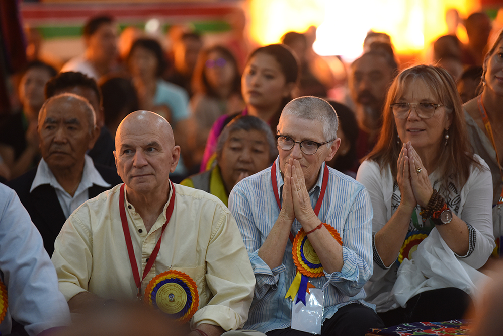 Members in the audience listen in reverence at the ceremony in Gaden Shartse. Phto/ Tenzin Jigme