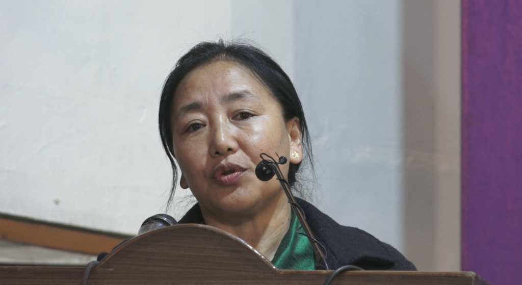 Kalon Dr Pema Yangchen, Department of Education giving her inaugural address at the 'Leadership Workshop for Class X Students' at Lower TCV School Dharamsala