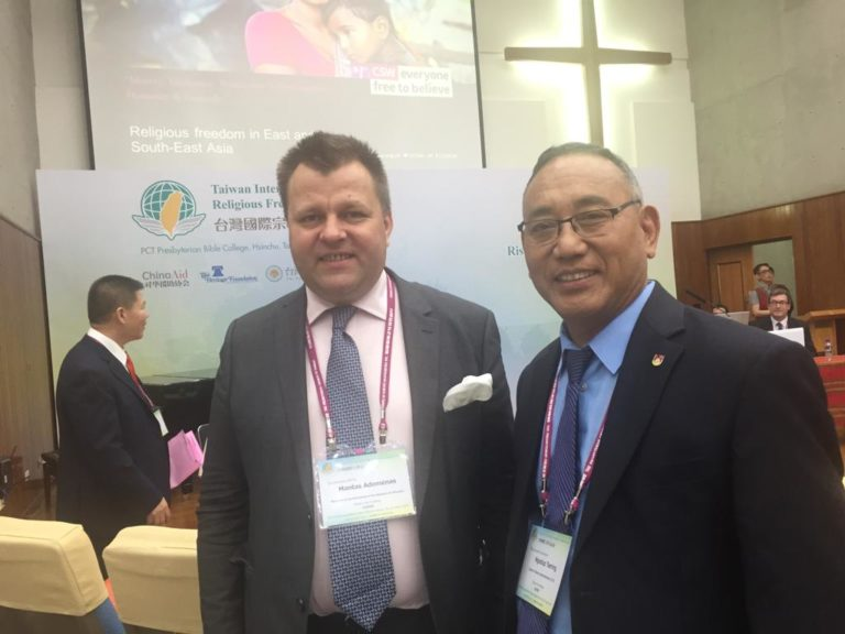Representative of the Office of Tibet- DC Ngodup Tsering meets MP Mantas Adomenas, the author of the letter, at Taiwan International Religious Freedom Forum held in Taipei, May 2019.