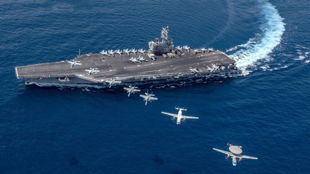 The USS Ronald Reagan aircraft carrier, seen here in the South China Sea in October, has made multiple port calls in Hong Kong over the years. (Photo courtesy of the U.S. Navy)