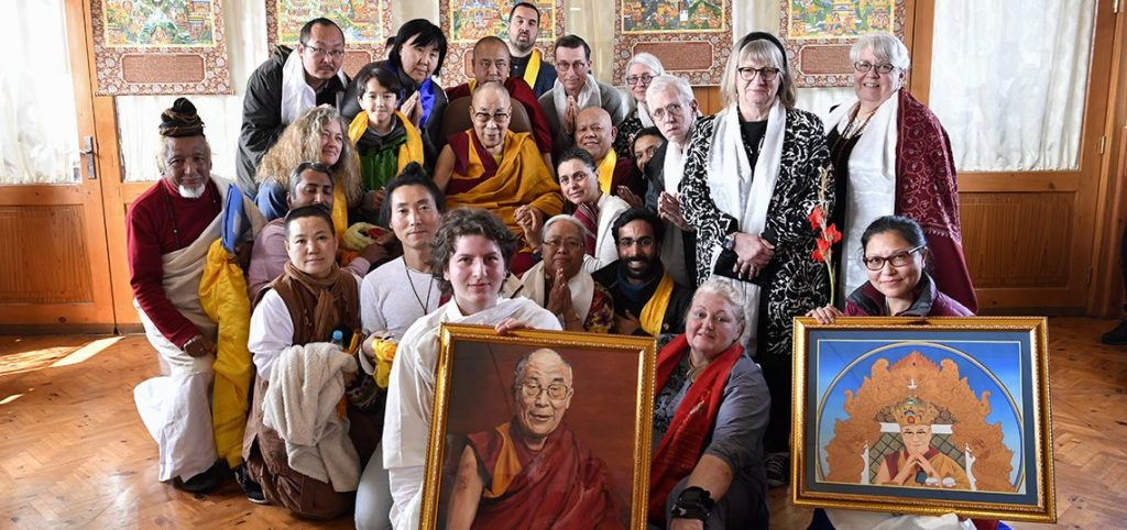 His Holiness the Dalai Lama with foreign disciples gathered for his talk on Compassion at his residence in Bodhgaya on January 13, 2020. Photo/ Dalailama.com