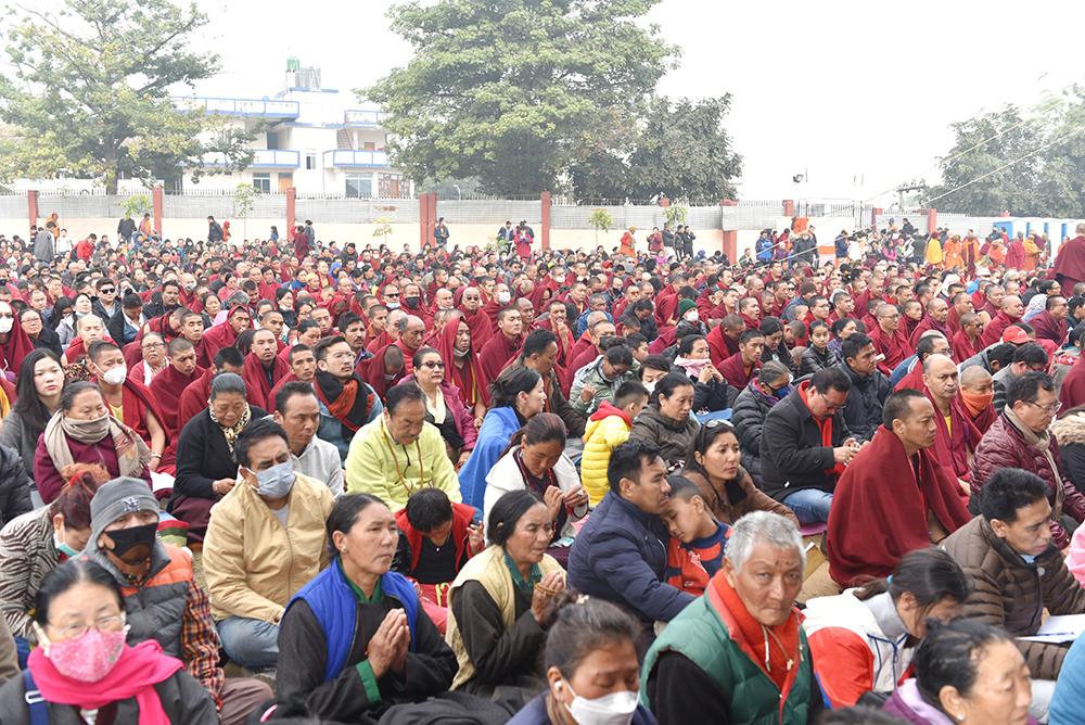 Members of the crowd of estimated at 35,000 including those from 67 countries, listening to His Holiness the Dalai Lama at the Kalachakra Ground in Bodhgaya, Bihar, India on January 2, 2020. Photo/ Pasang Dhondup/ CTA
