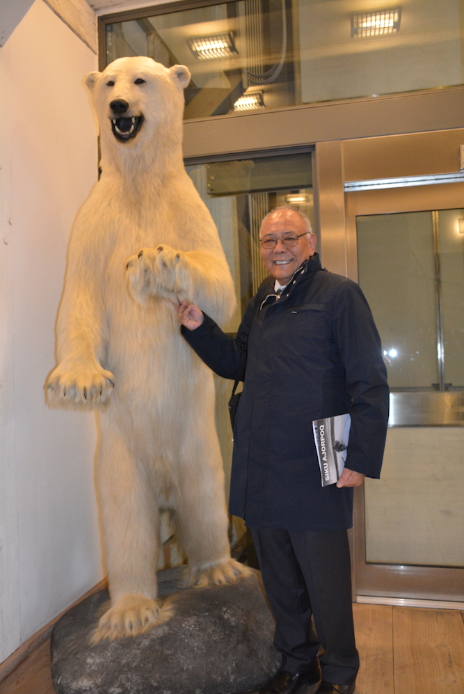 With a polar bear. Photo/ Mr Anders Andersen