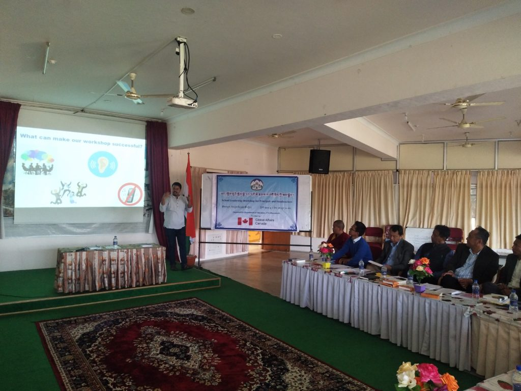 Mr Baidurya Bhusan Sen, trainer of the School Leadership Workshop giving the participants an overview of the workshop.