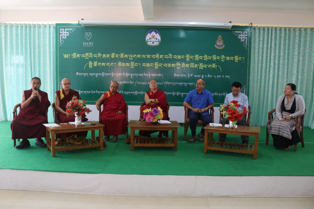 The facilitators: Geshe Lhakdor, Chairman of Education Council and Director of LTWA; Prof Geshe Lobsang Tenzin Negi, Director of the Center for Contemplative Science and Compassion-based Ethics, Emory University; Geshe Dadul Namgyal and Mr Tsondue Samphel, Senior Interpreters of the Center in Emory University at the workshop on 'Secular Ethics' for Pre-Primary school teachers.