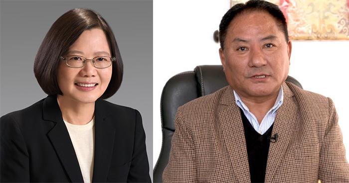 Taiwan President Dr Tsai Ing-Wen and Tibetan Parliamentary Speaker Pema Jungney. Photo: Screengrab