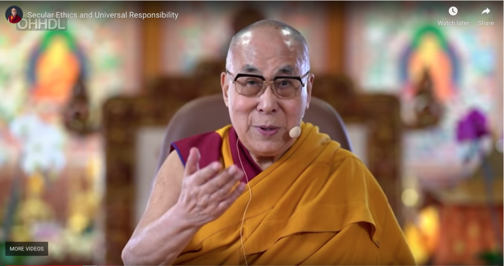 His Holiness the Dalai Lama addressing Chinese and Tibetan students on 'Secular Ethics and Global Responsibility' from Bodhgaya on 11 January 2020. Photo: Screengrab