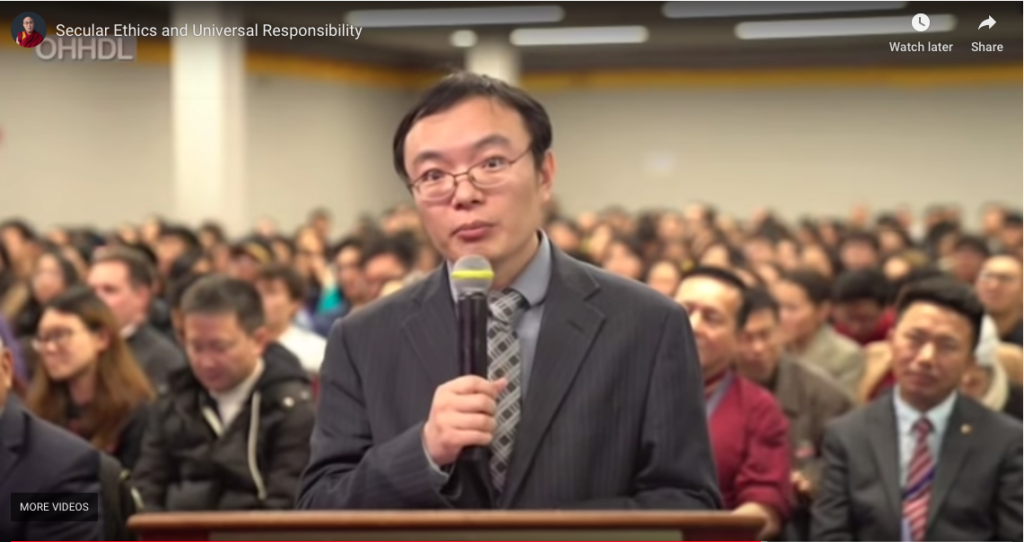 A Chinese student during the interactive Q&A session at the talk on 'Secular Ethics and Global Responsibility'. Photo: Screengrab