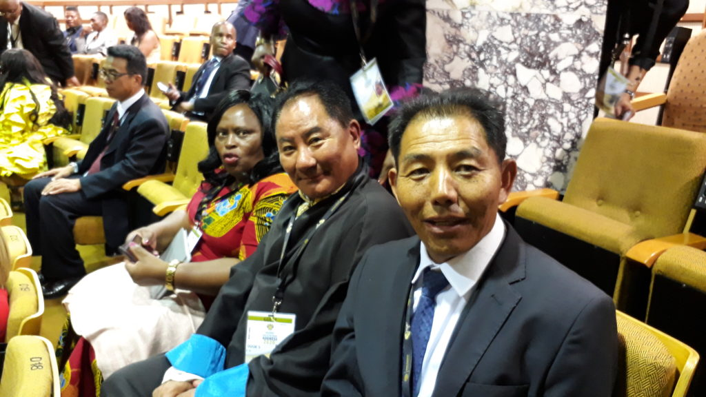 Speaker Pema Jungney of Tibetan Parliament at the Parliament with Representative Ngodup Dorjee, Office of Tibet, South Africa