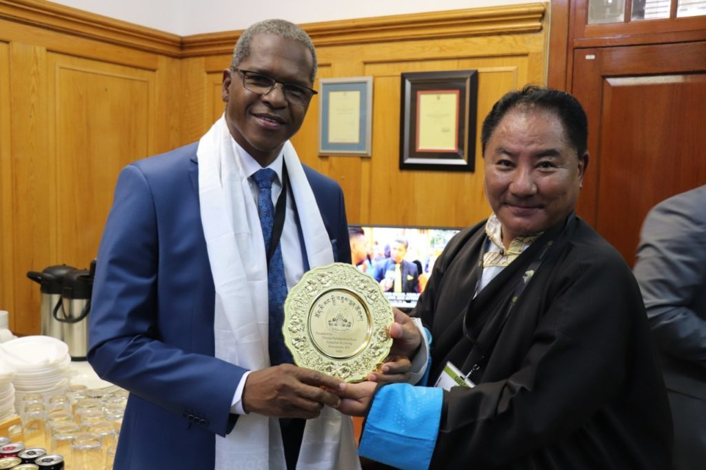 Speaker Pema Jungney of Tibetan Parliament with President Hon. Velenkosini Hlabisa of Inkatha Freedom Party, The Republic of South Africa