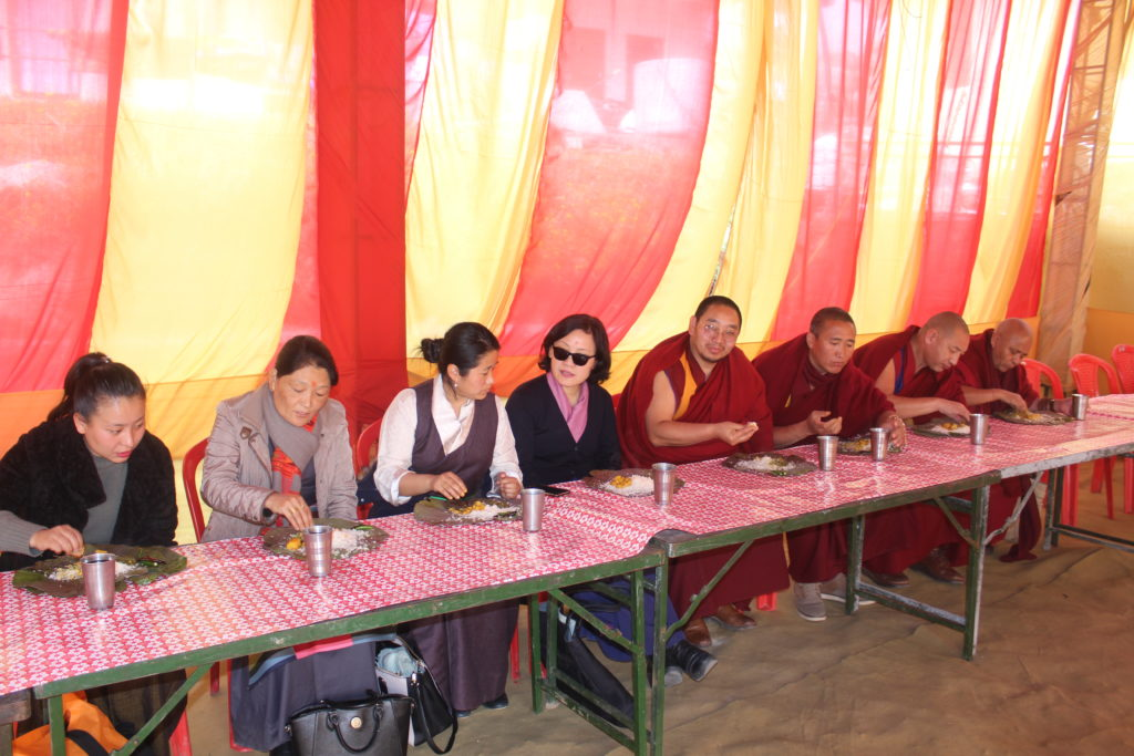 Deputy Speaker-led Parliament members feasting at the Dham hosted by Shri Onkar Nehria, Tibet supporter and Deputy Mayor of Dharamshala. Photo/Tibetan Parliament-in-Exile