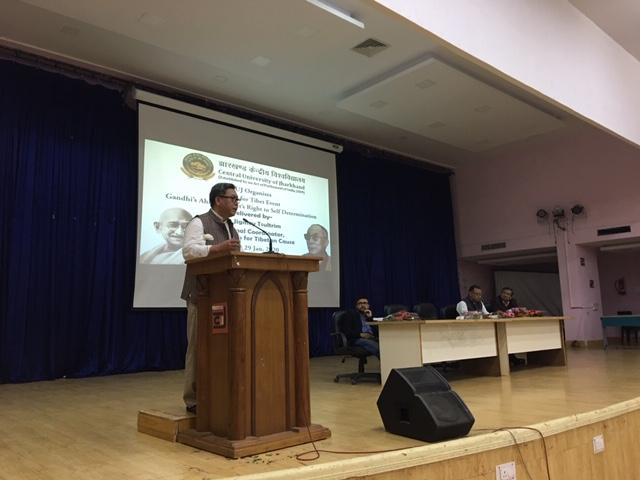 Coordinator addressing the event (on the dais from left Prof Ashok Sarkar, Head, Department of Management; Sh.Sudesh Kumar, Regional Convener; Dr Praveen, Assistant Professor, English Department. Photo/ ITCO, Delhi