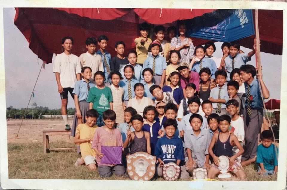 Tenzin Zeydhan with her school mates at the Central Tibetan School Paonta Sahib, 1994.