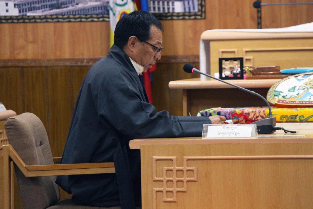 Mr. Tsewang Ngodup at the Tibetan Parliament Session.