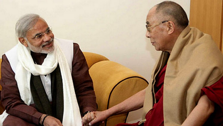 Prime Minister Narendra Modi (then Chief Minister) with His Holiness the 14th Dalai Lama in 2013.