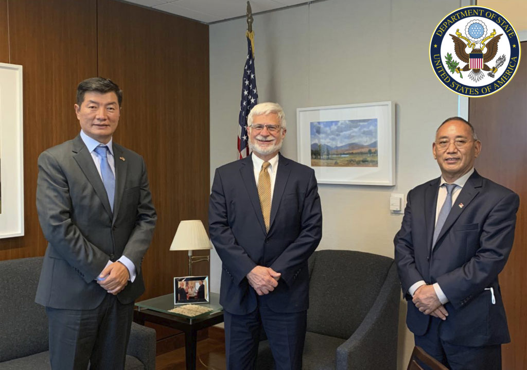 Sikyong Dr Lobsang Sangay and Representative Ngodup Tsering during the meeting with the new Special Coordinator for Tibetan issues and concurrent head of the Bureau of Democracy, Human Rights and Labor, Robert Destro at the US State Department.