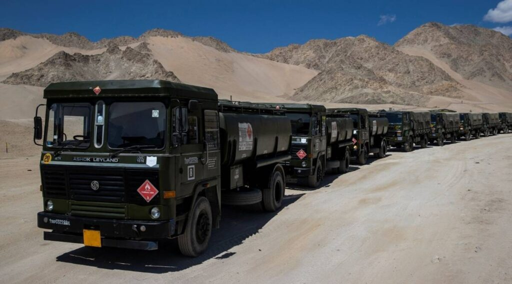 Military trucks carrying supplies move towards forward areas in the Ladakh region. Credit: Reuters Photo