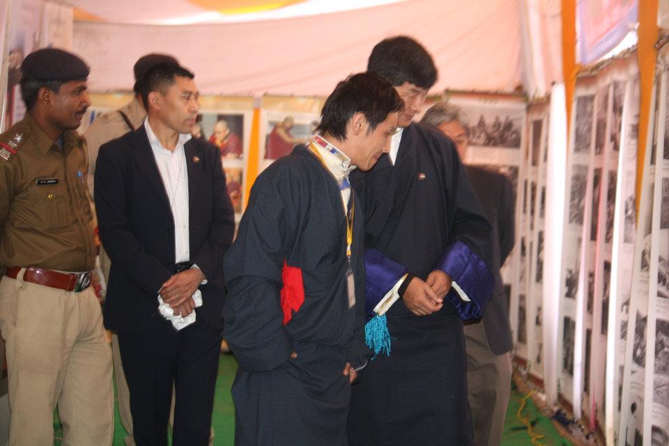 Mr. Thinley Umawa with Sikyong at the Tibet Museum exhibition at Bodh Gaya, Bihar, 2013.