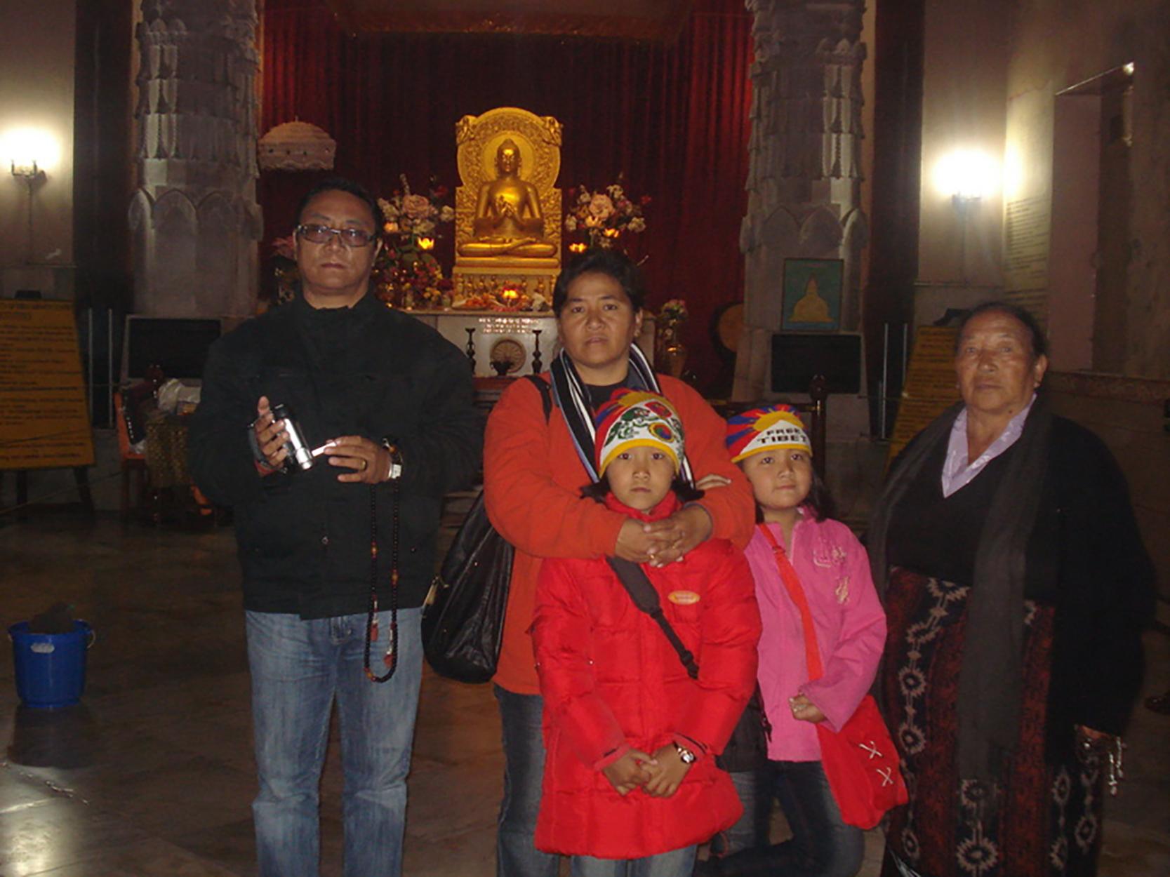 Mr. Palden Dhondup with his family during their pilgrimage in Sarnath, Uttar Pradesh, 2008.