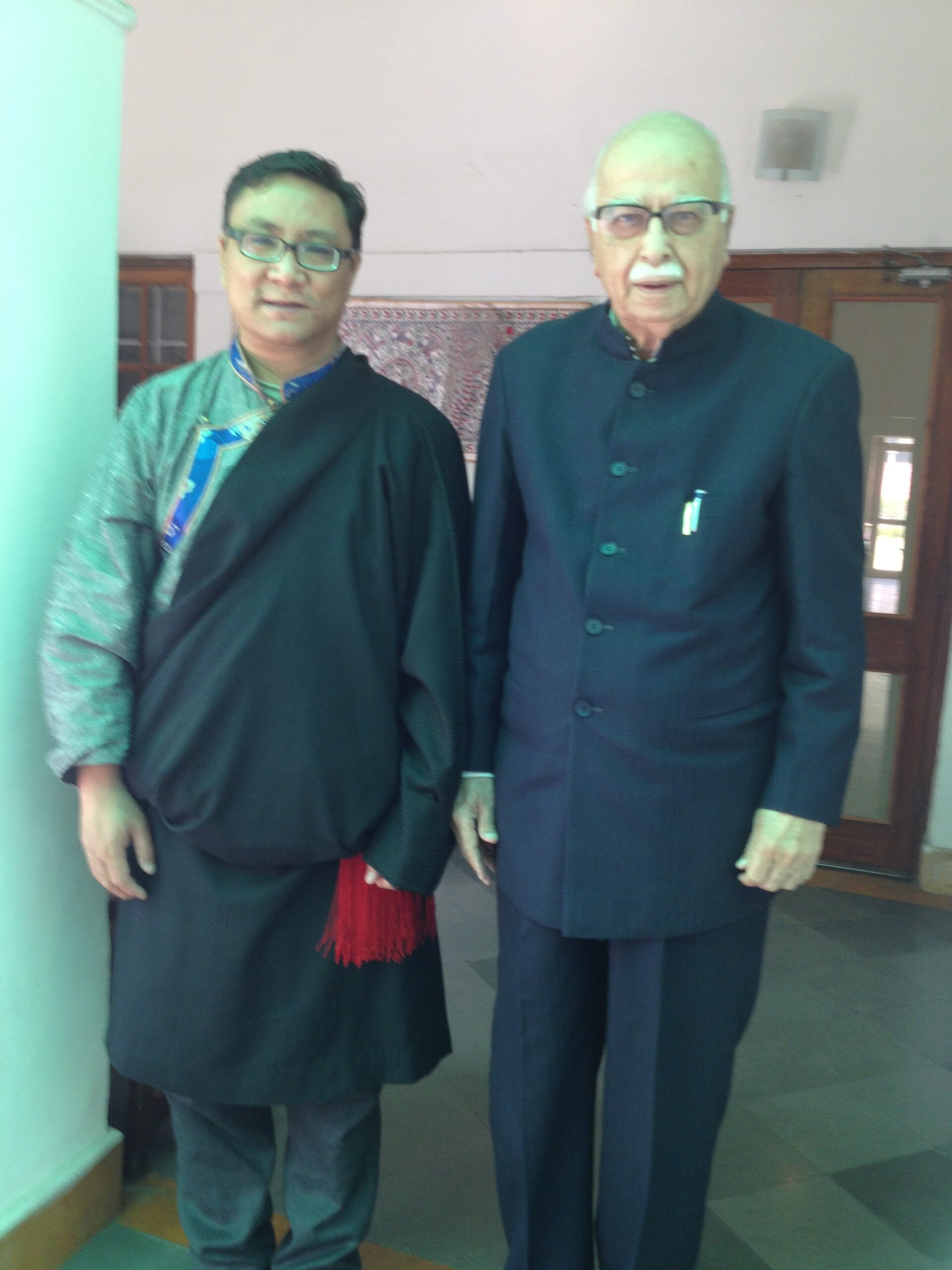 Mr. Palden Dhondup with Lal Krishna Advani, Former Minister of Home Affairs of India.