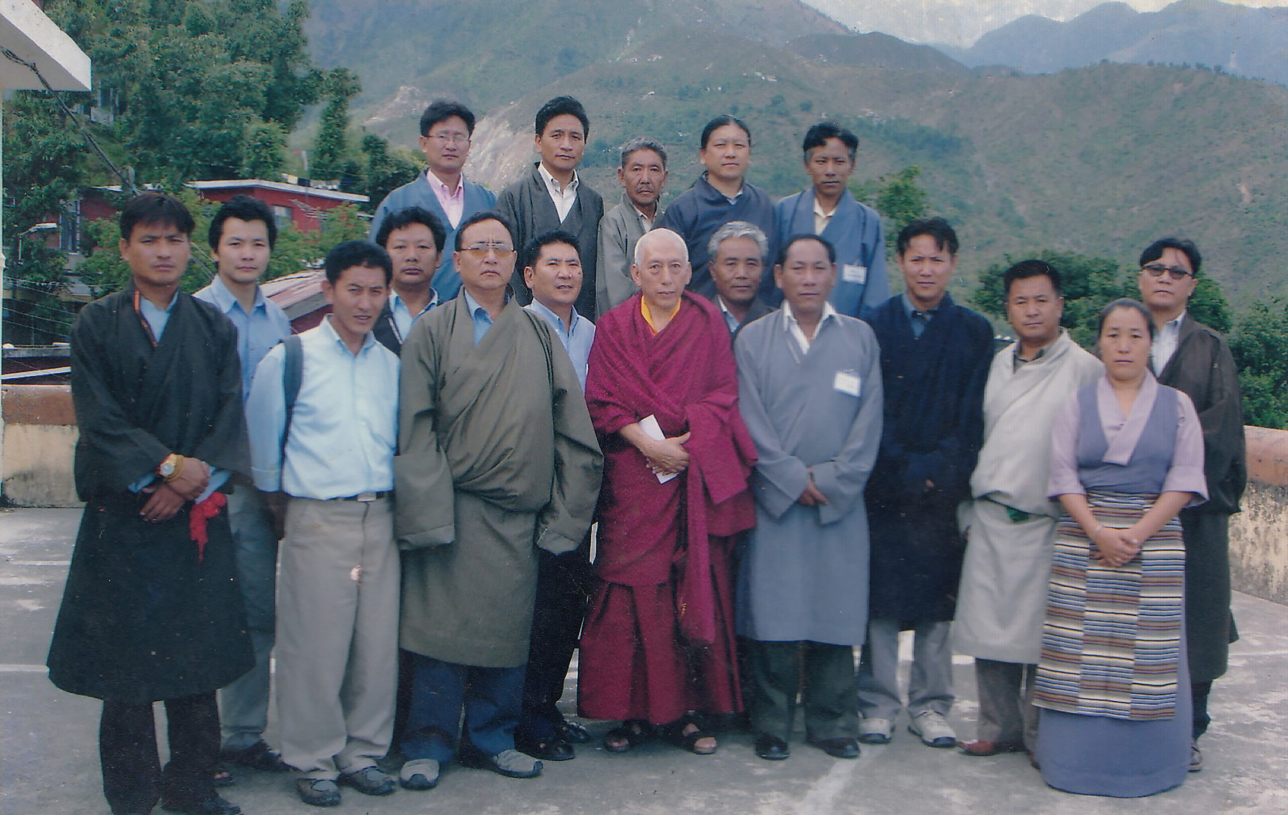 A group photo with Kasur Samdhong Rinpoche during the 1st meeting of Federation of Tibetan Cooperatives, Dharamshala, 2004.