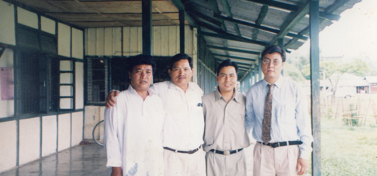 Mr. Palden Dhondup (then settlement officer) with Miao STO and Indian dignitaries, Miao, Arunachal Pradesh, 2000.