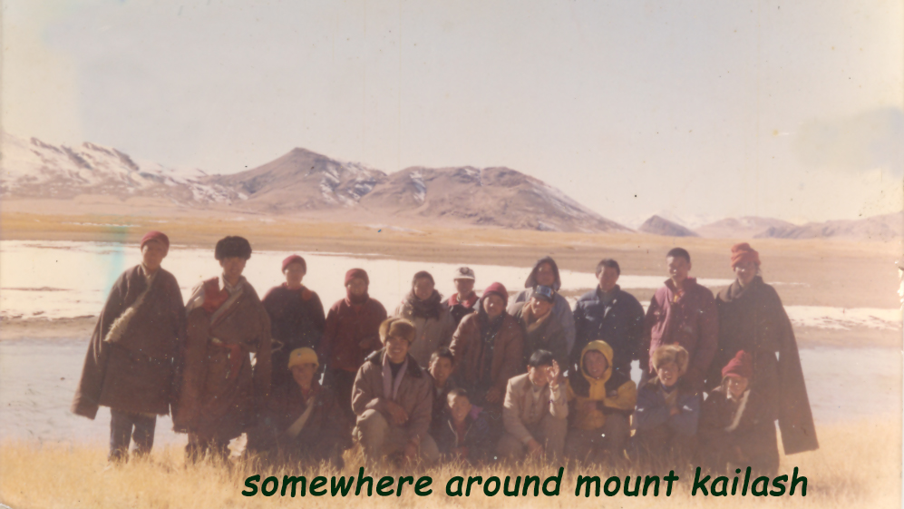 Mr Thinley Umawa (in front row in yellow coat)during his escape into exile, India, (end of)1996.