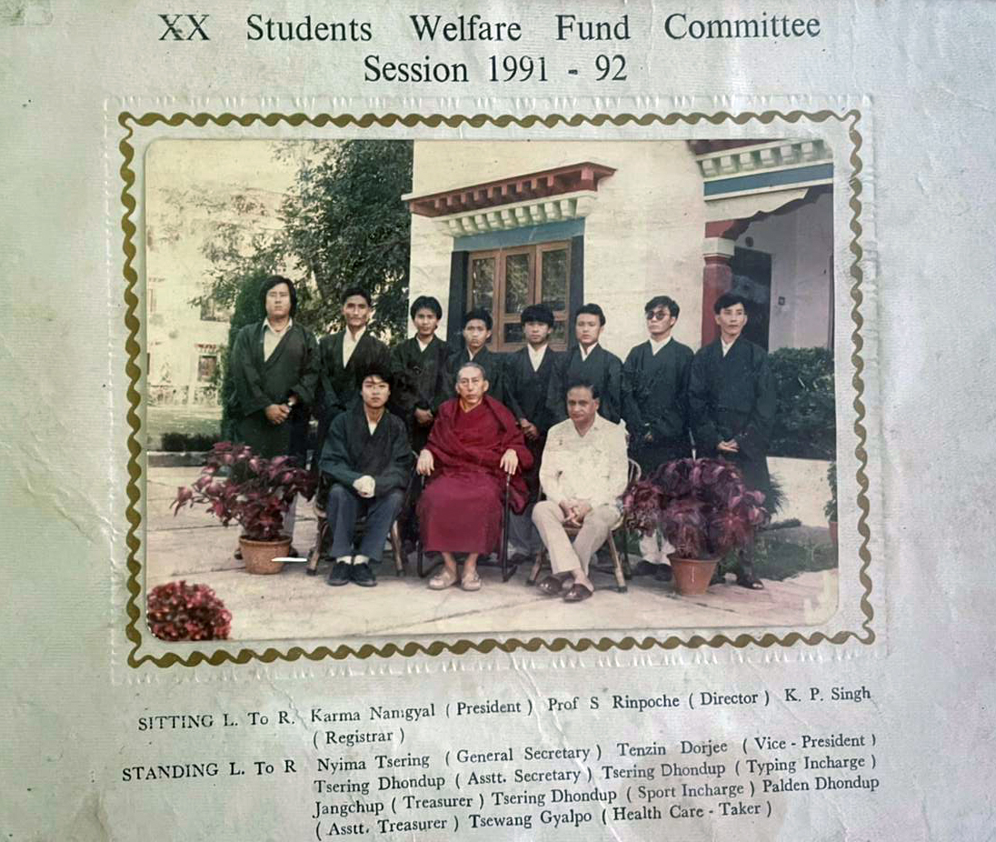 Mr. Palden Dhondup with fellow students' welfare fund committee at Central Institute of Higher Tibetan Studies (CIHTS), Varanasi, Uttar Pradesh.