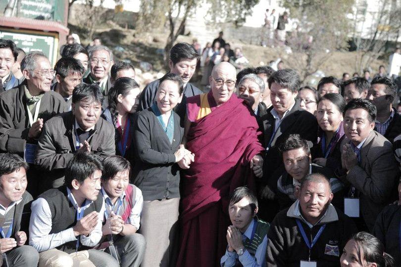 DIIR staff with His Holiness the Great 14th Dalai Lama and Sikyong Dr Lobsang Sangay at Upper TCV.