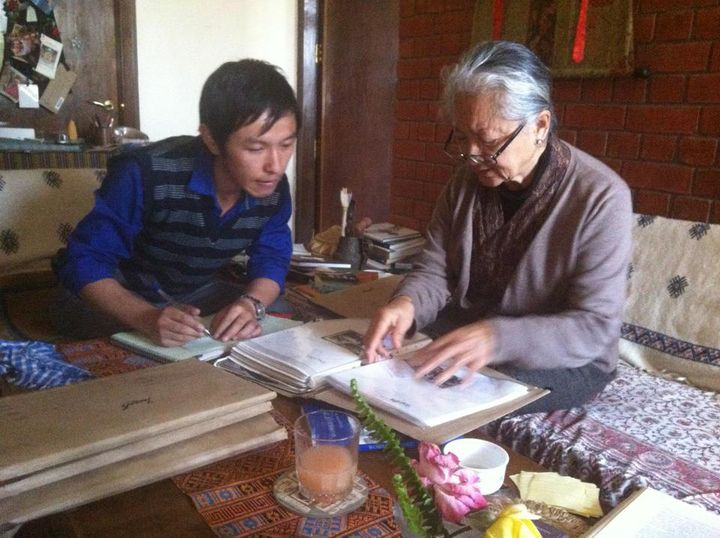 Mr. Thinley Umawa with Mrs. Namgyal Lhamo Taklha at her residence, Songtsen Library, 2013.