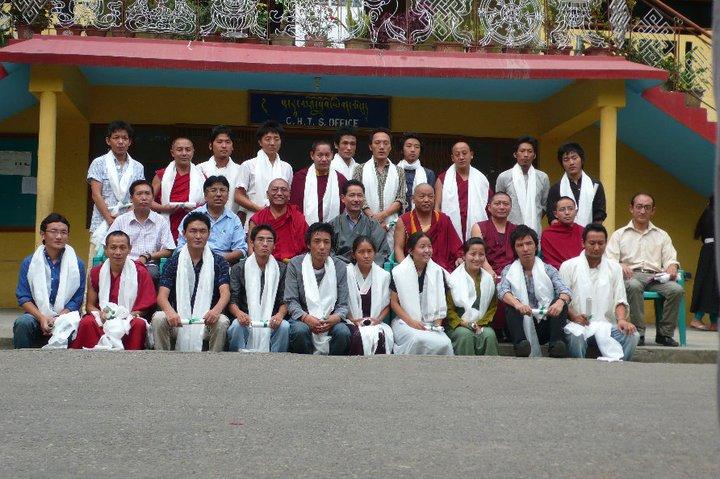 Mr. Thinley Umawa with his class mates at College for Higher Tibetan Studies, Sarah, 2010.