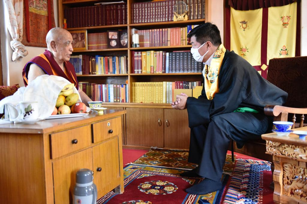 An audience with His Eminence the 104th Ganden Tripa at his residence before proceeding to meet the general public at Phodrang in Bylakuppe on 6 April 2021.