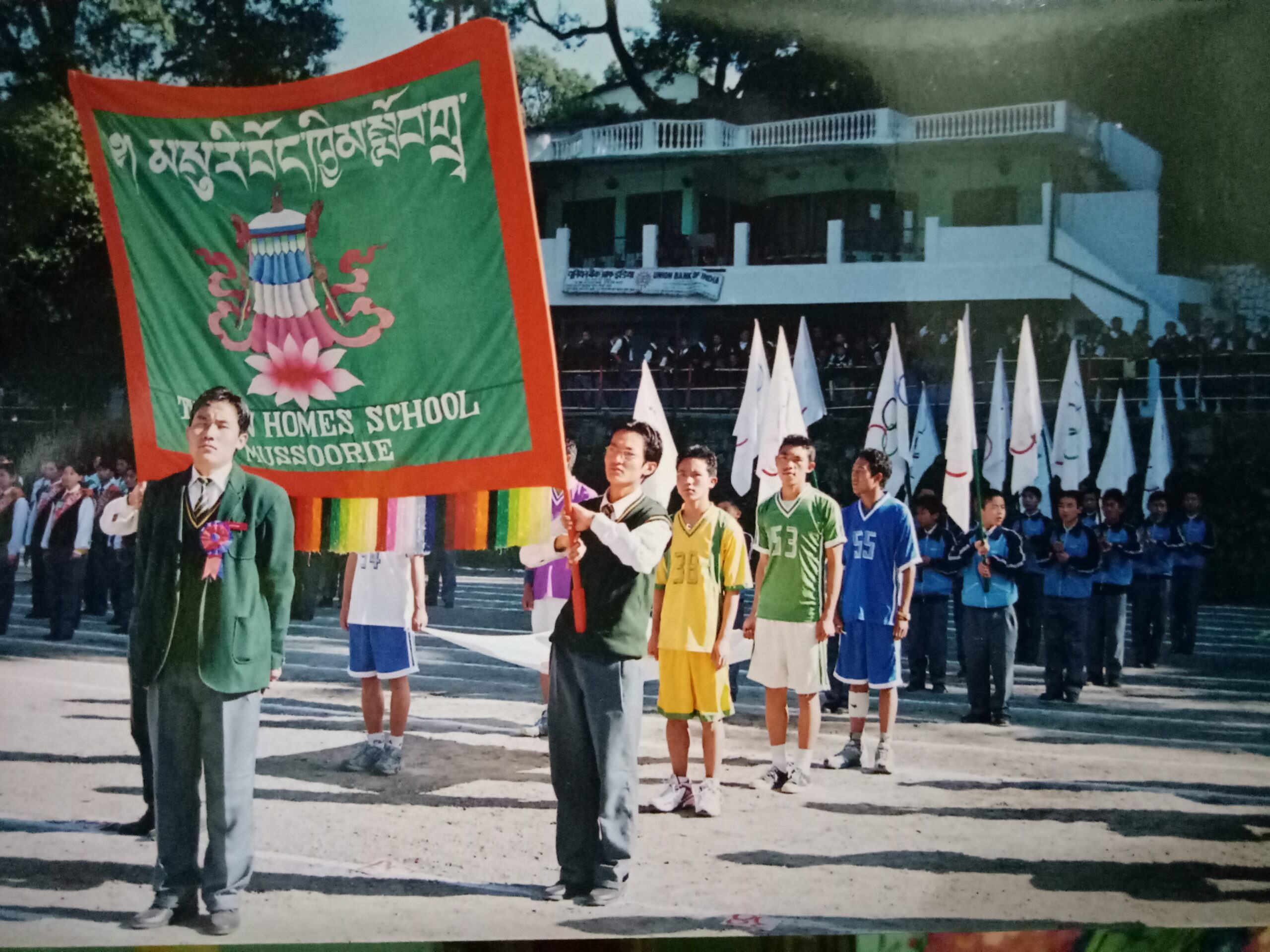 Nyima Gyaltsen (standing in front) as the School Captain during Annual Sports Day of Tibetan Homes, Mussoorie, 2004.