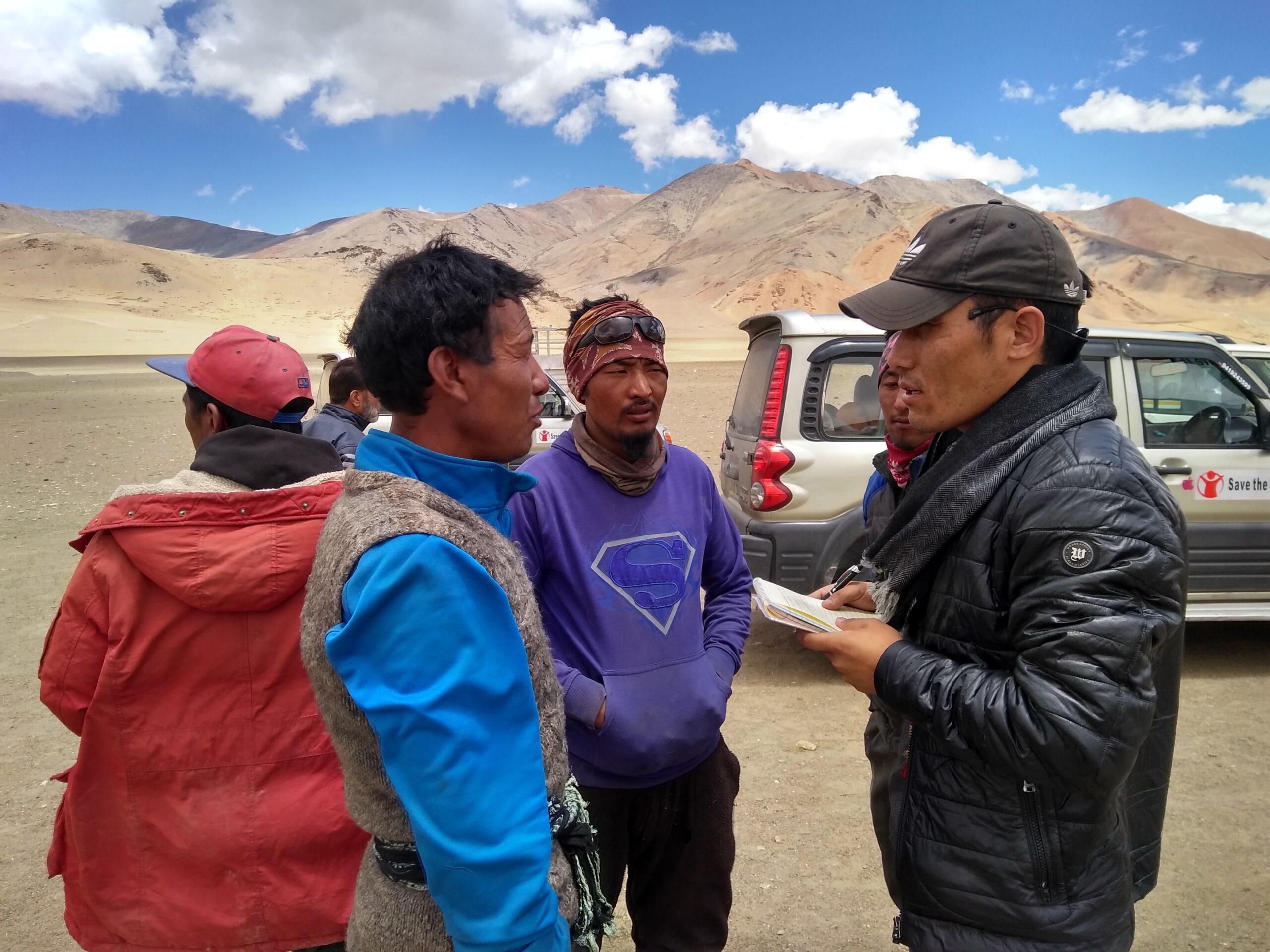 Nyima Gyaltsen interacting with Jhangthang Tibetans during Tibetan Medical Support Awareness Program in Ladakh, 2018.