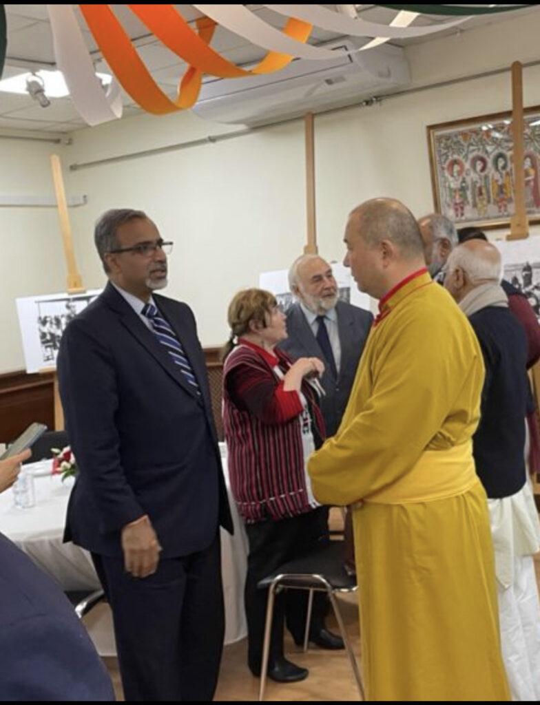 Telo Tulku Rinpoche interacting with Indian Ambassador to Russian Federation Mr. D.B. Venkatesh Varma.